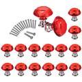 16 Pcs Drawer Knobs, 30mm Crystal Glass Cabinet Knobs Dresser Knobs Diamond Shape Drawer Kitchen Cabinets Dresser Cupboard Wardrobe Pulls Handles Glass Cabinet Knobs (Red)