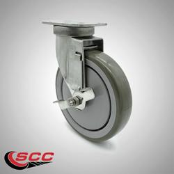 """Stainless Steel Polyurethane Swivel Top Plate Swivel Caster w/6"""" x 1.26"""" Gray Wheel & Top Locking Brake - 300 lbs Capacity/Caster - Service Caster Brand"""