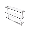 22-in Triple Tiered Glass Shelf with Integrated Towel Bar in Satin Nickel