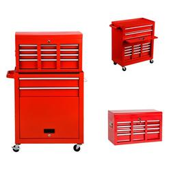 Heavy Duty 8-Drawer Rolling Tool Chest & Cabinet Storage Roller Toolbox High Capacity Mechanic Tool Organizer Garage Tool Chest with 4 wheels Red