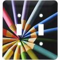 LLC lsp_22339_2 Colored Pencils Arraigned in Color Wheel Double Toggle Switch