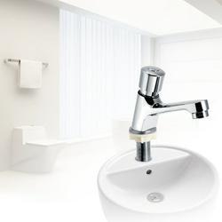 ANGGREK Faucet, Public Ktchen Bathroom Chrome Plated Self Closing Water Saving Time Delay Basin Sink Tap Faucet, Bathroom Faucet, Basin Faucet