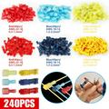 TSV 240Pcs T-Tap Quick Splice Wire Connectors Kit, Self-Stripping Quick Splice Electrical Wire Terminals, Insulated Male Quick Disconnect Spade Terminals Assortment for Automotive, Motorcycle, Home