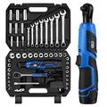 """PROSTORMER 50PCS 12V 3/8"""" Cordless Electric Ratchet Wrench Set, Socket Combination Wrench Auto Repair Tool Kit with Organizer Storage Case"""