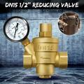 1/2inch DN15 Brass Water Pressure Reducing Valve With Gauge Flow Adjustable for branch pipe vacuum system,Water Pressure Regulator Valve,Brass Adjustable Water Pressure Reducer with Gauge