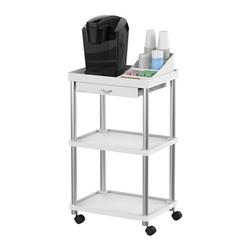 Mind Reader All Purpose Rolling Cart, Printer Cart, Utility Cart, Kitchen Cart, Coffee Cart, Microwave Cart, Bathroom Cart, 3 Tier, White with Free Condiment Organizer