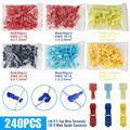 240Pcs T-Tap Wire Terminal Connectors Kit, TSV Self-Stripping Quick Splice Electrical Wire Terminals, Insulated Male Quick Disconnect Spade Terminals Assortment Kit, for Automotive, Motorcycle, Home
