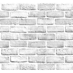 "White Brick Wallpaper - Peel and Stick Wallpaper - Self Adhesive Wallpaper - Easily Removable Wallpaper - 3D Wallpaper - Use as Wall Paper, Backsplash Peel Stick or Shelf Paper (23.6"" x 393"")"
