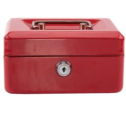 Stainless Steel Small Safe Cash Box with Money Tray and Lock Portable Metal Money Box with Double Layer & 2 Keys for Security Lock Box Red