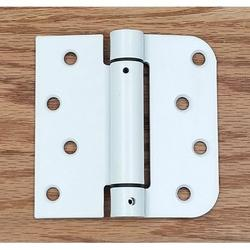 """Spring Self-Closing Hinges, 4"""" X 4"""" Square with 5/8"""" White Prime - 2 Pack - Adjustable Door Closing"""