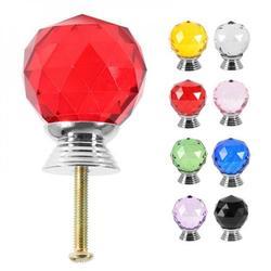 ZDMATHE 1 Pcs Diamond Crystal Glass Alloy Door Drawer Cabinet Wardrobe Pull Handle Knobs