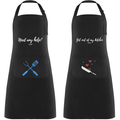 Lemecima 2 PCS Aprons with Pockets Kitchen Apron Set Couple Apron Waterproof Adjustable Shoulder Boyfriend, Girlfriend or Any Friend Master Chef Apron