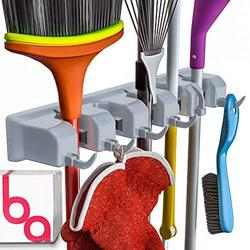 Berry Ave Broom Holder Wall Mount and Garden Tool Organizer, Closet Storage, Kitchen Rack, Home Organization and Garage Organizer for Rake or Mop Handles Up to 1.25-Inches, Hanger Plus 6 Hooks (G
