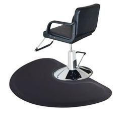 Veryke Salon Mat, Black Chair Floor Mat, Barber Salon Anti Fatigue Floor Mat Semi-Circular Salon Mat, Barber Shop Chair Floor Mats