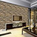3D Effect Brick Wall Stickers Self-Adhesive PVC Wallpaper Peel and Stick Wallpaper Sticker Waterproof for Home Design and Room Decoration, Rock Slices Style