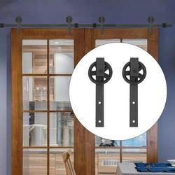 OTVIAP 12FT Double Door Splicing Round Wheel Carbon Steel Barn Door Hanging Rail, Barn Door Rail,Sliding Barn Rail,Barn Door Hanging Rail