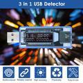 Carevas 3 in 1 USB Detector Multifunctional USB Tester Multimeter Voltage Current Capacity Monitor Meter Voltmeter Ammeter LCD Display Screen