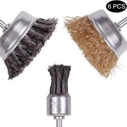 6Pcs Wire Brush Wheel Cup Brush Set, 3 Inch Knotted and Plated Crimped and 1-Inch Carbon Knot Wire End Brush, Cup Wire Wheels Brush Set for Cleaning Rust Stripping and Abrasive