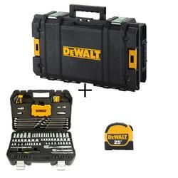 DEWALT Mechanics Tool Kit Set (142-Piece) with Case & Bonus TOUGHSYSTEM 22 in. Small Tool Box & 25 Ft. X 1-1/8 in. Tape Measure