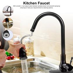 Akozon Pull-Out Kitchen Sink Faucet, Black Bronze Single Handle Swivel Pull Out Kitchen Faucet with Sprayer, Cold and Hot Tap Dispenser Black