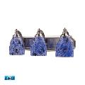 Bath Lighting 3 Light LED With Satin Nickel Finish Starburst Blue Glass 20 inch 40.5 Watts - World of Lamp