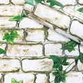 Woltop 3D Brick Wallpaper Peel and Stick White Green Plant - 17.7 x 393 inches 3D Removable, Decorative Faux Brick Wallpapers for Wall Décor