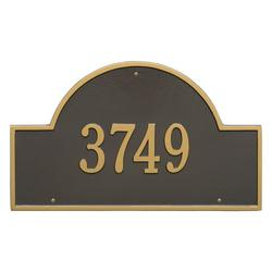 Personalized Whitehall Products Estate One Line Arch Marker Wall Address Plaque in Bronze/Gold