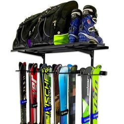 StoreYourBoard Ski Wall Rack and Storage Shelf, Holds 10 Pairs, Home and Garage Storage Hanger, Wall Mounted Organizer, Holds 300 lbs