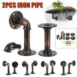 "2/4 PCS 3.1"" 5.9"" Rustic Black Iron Pipe Shelf Brackets Retro Industrial Wall Mounted Hardware Heavy Duty Shelf Brackets Includes Screws"