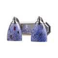 Bath Lighting 2 Light With Satin Nickel Finish Starburst Blue Glass Medium Base 14 inch 120 Watts - World of Lamp