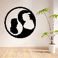Disney Cartoon Character Mulan And Li Shang Yin Yang Cute Silhouette Wall Sticker Design For Kids Boys Girls Room Bedroom Fun Wall Home Decal Design Sticker Wall Art Vinyl Decoration Size (30x30 inch)
