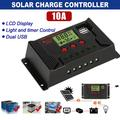 Solar Charge Controller 10A Solar Panel Controller, Automatic focusing PWM tracking charging, LCD Display & Dual USB Ports