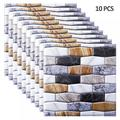 Savlot 10PCS PVC Wall Panel Marble 3D PVC Tile Wallpaper Marble Decorative Wall Stickers 3D Tile Wall Panel for Living Room Decoration