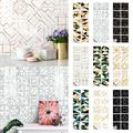 Goory 3D Self Adhesive Removable Wallpaper, Mosaic Tile Sticker for Kitchen Bathroom 3D Wall Sticker Wallpaper Tiles in Mosaic Design