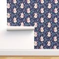 Removable Water-Activated Wallpaper Navy Fox Modern Nursery Decor Sleeping Foxes