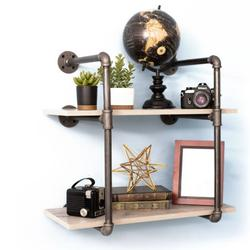 Pipe-Decor.com Rustic Industrial Floating Shelving Distressed Aged Wood and Iron Pipes 2 tier Wall Mounted Hanging Shelf