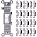 GE, White, Grounding Toggle 25 Pack, single Pole, In Wall On/Off Fan & Light Switch Replacement, 15 Amp, For Home, Office & Kitchen, Ul Listed, Wallplate not included, 44035