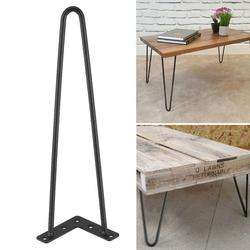 EBTOOLS Metal Desk Legs, Set Of 4 Table Legs Heavy Duty Hairpin Legs Satin 2 Rod Mid Century Modern , Iron Desk Legs