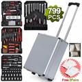 799Pieces Mechanics Tool Set Standard Metric Hand Tool Kit with Case Aluminium Tool Chest Box Organizer Castors Trolley with Telescoping Handle Silver Case