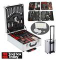 799pcs Aluminum Trolley Case Tool Set Silver, House Repair Kit Set, Household Hand Tool Set, with Tool Belt,Gift on Father's Day