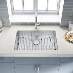 Kitchen Sink 304 High Quality Stainless Steel Under Counter Kitchen Sink Modern Kitchen Sink, Concave Single Sink 30*18*9 Inch Stainless Steel Kitchen Sink and Accessories