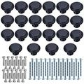 FDINF 22 Pack Flat Black Drawer Knob Pull Handle Black Cabinet Knobs Cabinet Cupboard Drawer Pulls Cupboard Knobs with 44 Pieces DIY Screws for Home Office Furniture Decoration(Black)