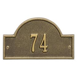 Personalized Whitehall Products Petite One-Line Arch Marker Address Plaque in Antique Brass