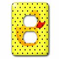 3dRose Yellow Duck - Black Polka Dots - Bath Toys - Fun Whimsical Art - 2 Plug Outlet Cover (lsp_55657_6)