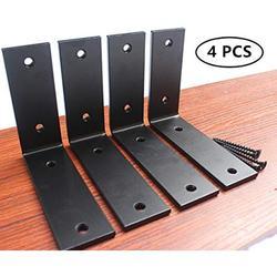 4 Pack - L 5 x H 4 x W 1.5, 5mm Thick L Shelf Bracket, Iron Shelf Brackets, Metal Shelf Bracket, Industrial Shelf Bracket, Modern Shelf Bracket, Decorative Shelving, Shelf Supports with Screws