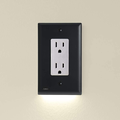 Single - SnapPower GuideLight 2 for Outlets [New Version - LED Light Bar] - Night Light - Electrical Outlet Wall Plate with LED Night Lights - Automatic On/Off Sensor - (Duplex, Light Almo