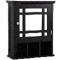 Mirrored Bathroom Wall Storage Medicine Cabinet with Adjustable Shelf, Espresso