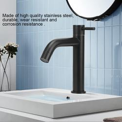 LYUMO Water Tap,Single Cold Water Faucet,Stainless Steel Bathroom Basin Sink Faucet Single Cold Water Tap Faucet with Hose