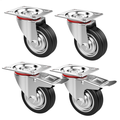 """Topeakmart 4 Pack 3"""" Rubber Swivel Casters, 360 Degree Top Plate Castors Wheels, 110lb Capacity per Caster 2 with Brakes, 2 without"""
