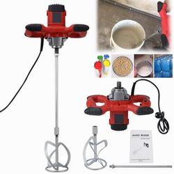 Hilitand Paint Mixer,1pc Red 1500W Handheld 6-speed Electric Mixer for Stirring Mortar Paint Cement Grout AC 110V,Mortar Mixer